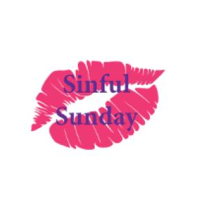 "lip print logo and text ""sinful sunday"""