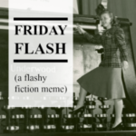 "a woman in 40s garb stands superimposed on a typewriter. the badge reads ""friday flash (a flashy fiction meme)"