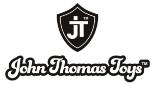 Meet the Barbarian - the John Thomas Toys logo: a white J and T intersect on a black shield. Below are the words John Thomas Toys (TM) in a playful, retro-cool type font